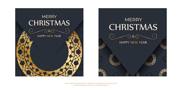 Festive flyer merry christmas dark blue with vintage gold pattern
