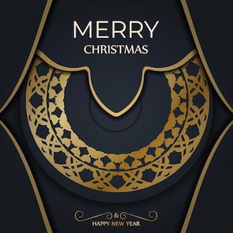 Festive flyer merry christmas dark blue with winter gold ornament