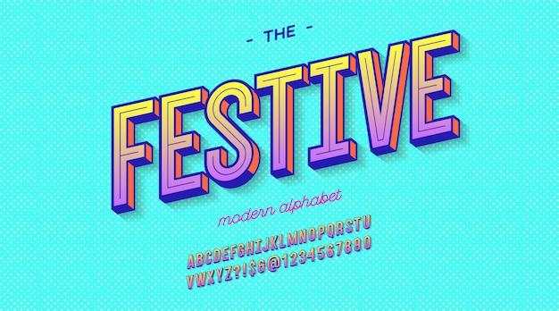 여름 파티 포스터 축제 글꼴 3d 굵은 스타일