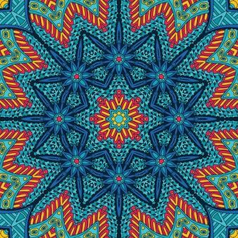 Festive geometric kaleidoscopic seamless pattern ethnic tribal background