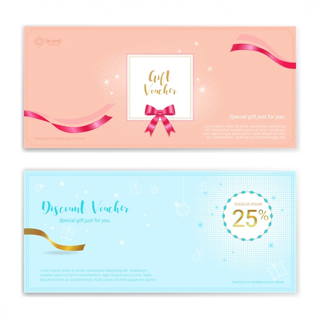 Festive gift certificate, voucher, gift card or cash coupon template