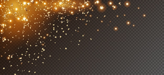 Festive glitter background with falling gold confetti and sparkling lights