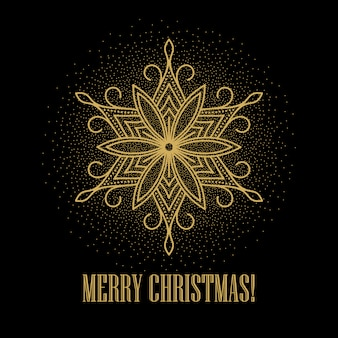 Festive gold background with golden snowflakes , greeting card