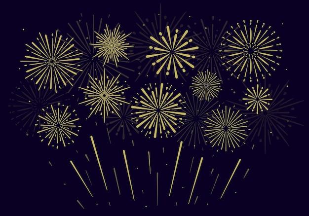 블랙에 축제 황금 불꽃 놀이