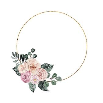 水彩画の花とお祝いの黄金のフレーム