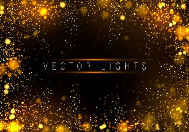 お祝いの黄金の明るい背景カラフルなライトボケ
