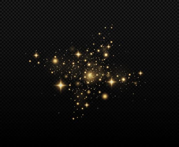 화려한 조명 보케가 있는 축제 황금빛 빛나는 배경 반짝이는 마법의 먼지 입자
