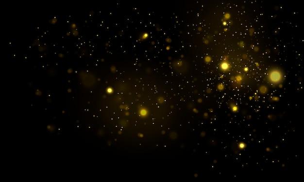カラフルなライトのボケ味を持つお祝い黄金の明るい背景。輝く魔法の粒子。ゴールドのクリスマスのザラザラした抽象的な質感。紙吹雪の黄金の爆発。魔法のコンセプト。図。