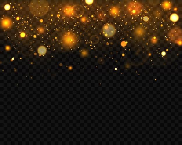 Праздничный золотой светящийся фон с красочными огнями боке