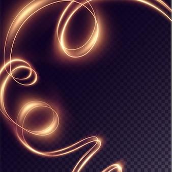 Праздничная золотая светящаяся линия блестящее конфетти с эффектом золотого сияния изолированный волнистый свет