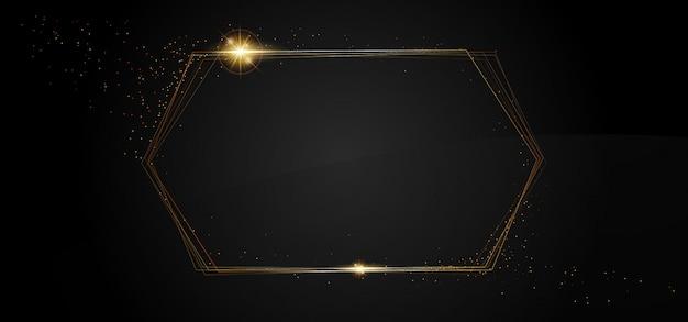 Festive golden sparkle banner, glitter border, square frame