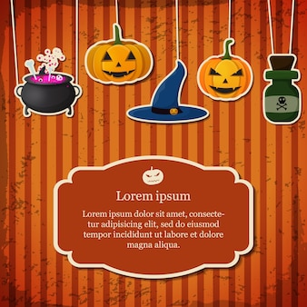 Festive halloween card with text in frame hanging pumpkins witch hat cauldron poison bottle