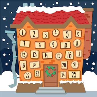 Festive hand drawn advent calendar