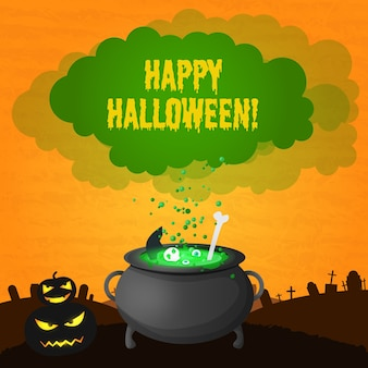 Festive happy halloween card with inscription scary pumpkins and magic potion boiling in witch pot