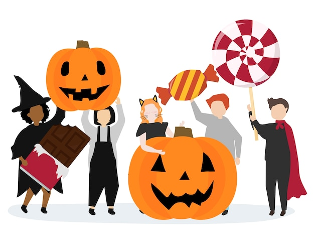 Festive happy halloween graphic illustration