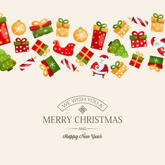 Festive happy new year and christmas card with greeting inscription and colorful christmas symbols on light