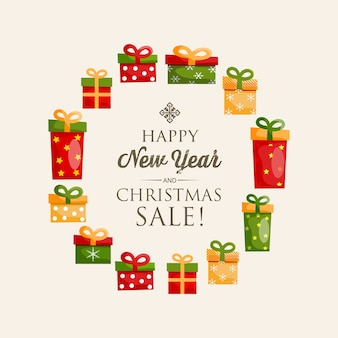 Festive happy new year poster with calligraphic inscription and colorful present boxes in round shape illustration