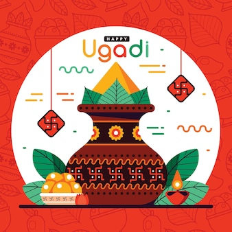 Festive happy ugadi flat design