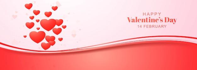 Festive heart valentines day banner design