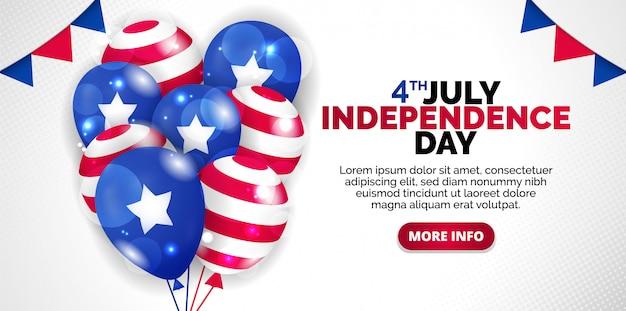 Festive illustration of independence day in america celebration on july 4.