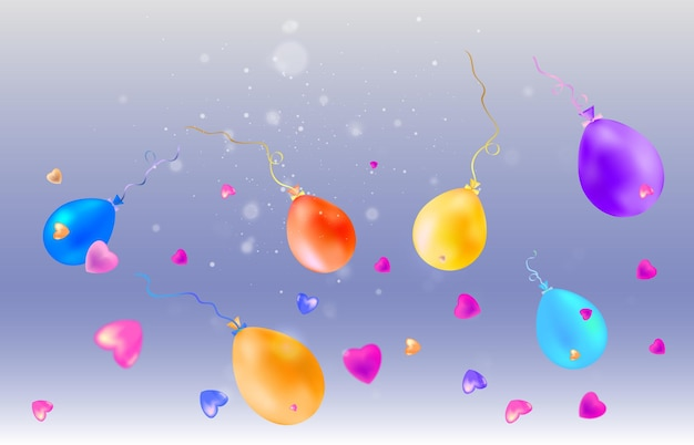 A festive illustration with balloons and falling candies