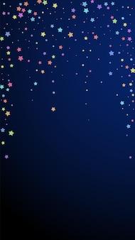 축제 상상력 색종이. 축하 별. 진한 파란색 배경에 무작위로 화려한 별입니다. 화려한 축제 오버레이 템플릿입니다. 수직 벡터 배경입니다.