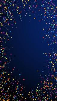 お祝いの真っ白な紙吹雪。お祝いの星。紺色の背景にカラフルな紙吹雪。お祝いのオーバーレイテンプレートを取得しています。垂直ベクトルの背景。