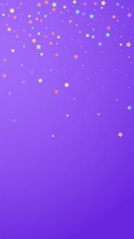 축제 뽀얀 색종이 조각. 축하 별. 보라색 배경에 무작위로 화려한 별입니다. 훌륭한 축제 오버레이 템플릿입니다. 수직 벡터 배경입니다.