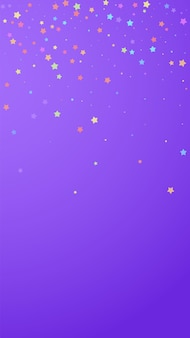 Festive immaculate confetti. celebration stars. colorful stars random on violet background. great festive overlay template. vertical vector background.