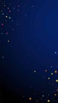 お祝いの磁気紙吹雪。お祝いの星。紺色の背景に楽しい星。素晴らしいお祭りオーバーレイテンプレート。垂直ベクトルの背景。
