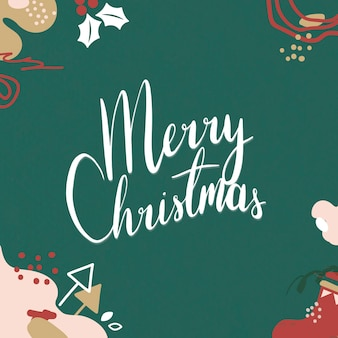 Festive merry christmas greeting card with lettering
