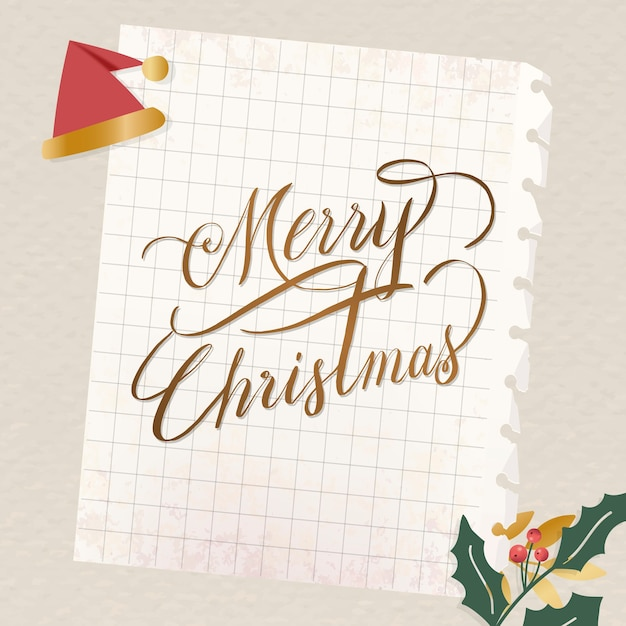 Festive merry christmas lettering for greeting card
