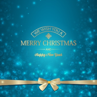 Festive merry christmas template with golden greeting inscription and ribbon bow on light blurred illustration