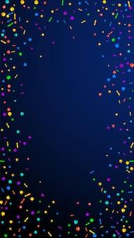 お祭りの驚異的な紙吹雪。お祝いの星。紺色の背景にお祝いの紙吹雪。お祝いのオーバーレイテンプレートを取得しています。垂直ベクトルの背景。