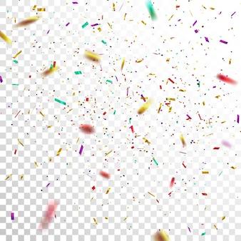 透明で隔離されたお祝いの色とりどりの紙吹雪