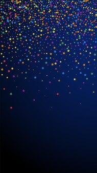 Festive neat confetti. celebration stars. rainbow bright stars on dark blue background. great festive overlay template. vertical vector background.