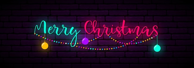 Festive neon banner with inscription merry christmas.