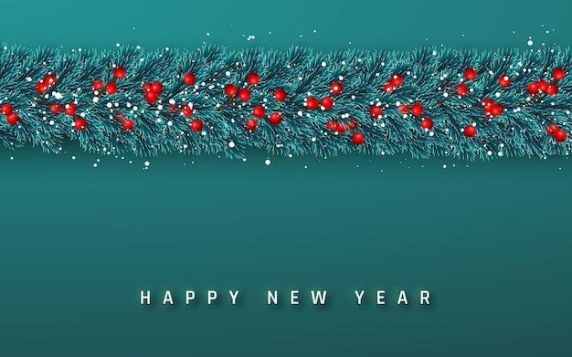 お祝いの新年の背景。クリスマスの花輪。ヒイラギの果実とクリスマスの雪と木の枝。休日の背景。