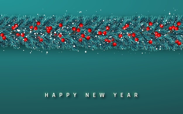 Festive new year background. christmas garland. tree branches with holly berries and xmas snow. holiday's background.