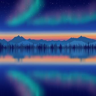 Праздничный новогодний рисунок, северное сияние, отражение в море, горы на горизонте