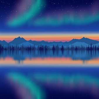 Festive new year drawing, aurora borealis reflected in the sea, mountains on the horizon
