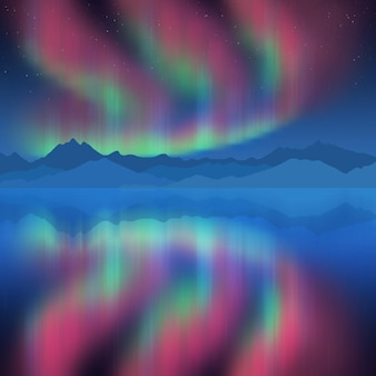 Festive new year drawing, aurora borealis reflected in the sea