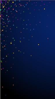 Festive original confetti. celebration stars. bright confetti on dark blue background. fine festive overlay template. vertical vector background.