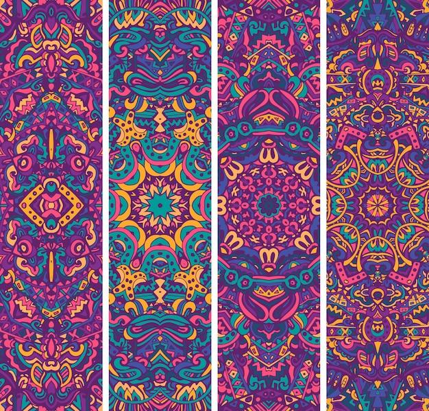 Набор праздничных декоративных векторных этнических баннеров. психоделический мексиканский цветовой узор