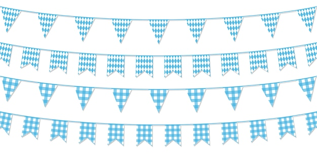 Festive paper garlands isolated on white background.