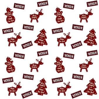 クリスマスと年末年始のお祝いパターン。雪片、鹿、雪だるま、クリスマスツリーがあります。ベクトルイラスト