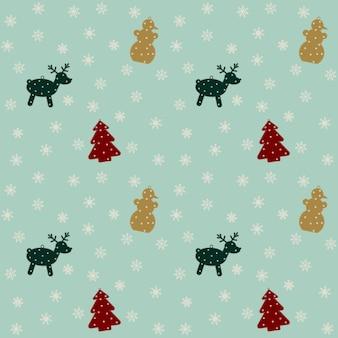 크리스마스와 새해 휴일을 위한 축제 패턴입니다. 눈송이, 사슴, 눈사람 및 크리스마스 트리.