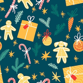 새해 요소, 휴일 장식, 선물, 크리스마스 장난감이 있는 축제 패턴입니다.