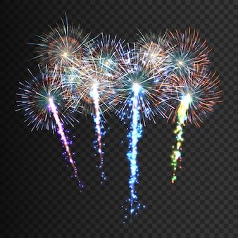 お祭り模様の花火
