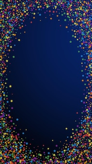 Festive pleasant confetti. celebration stars. rainbow bright stars on dark blue background. favorable festive overlay template. vertical vector background.